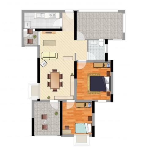 金色池塘2室2厅2卫1厨95.00㎡户型图