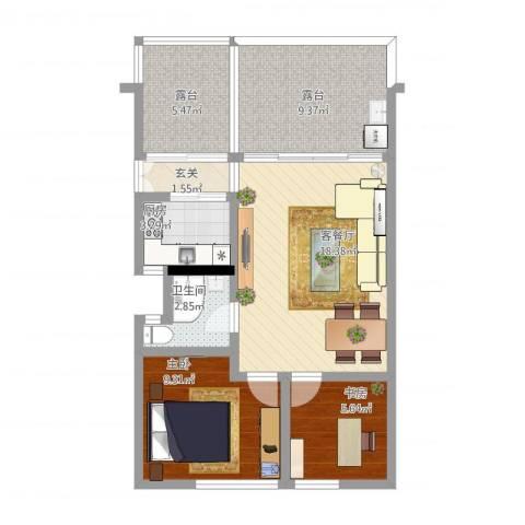 祈福新村C区2室2厅1卫1厨82.00㎡户型图