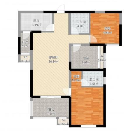融侨城2室2厅2卫1厨129.00㎡户型图