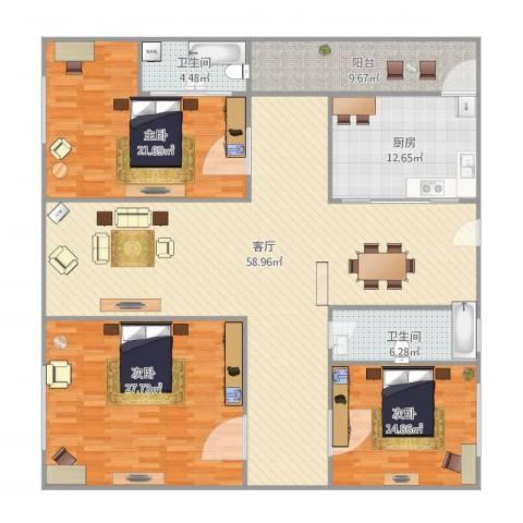 教师村2座3室1厅2卫1厨165.84㎡户型图