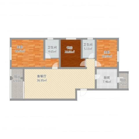 龙腾苑五区3室2厅2卫1厨145.00㎡户型图