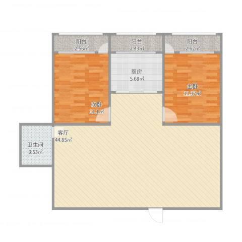 华能路地勘局宿舍2室1厅1卫1厨113.00㎡户型图