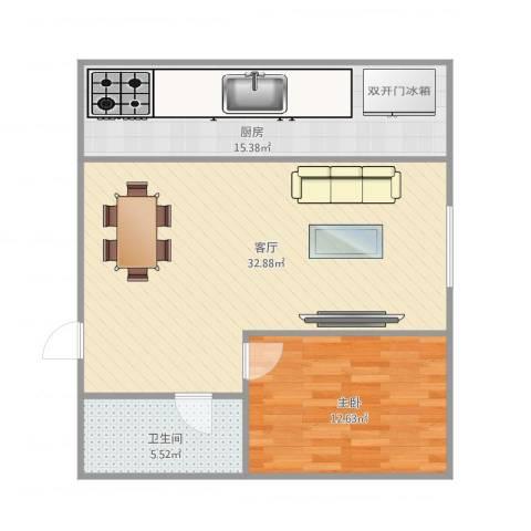华夏山海城1室1厅1卫1厨88.00㎡户型图