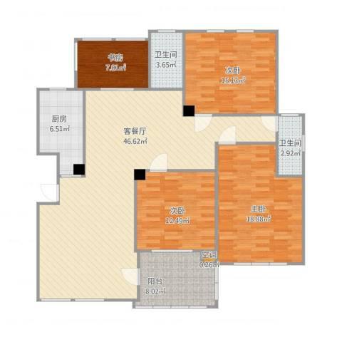 风格城事4室2厅3卫1厨163.00㎡户型图
