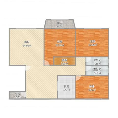 新明星花园二期3室1厅2卫1厨209.00㎡户型图