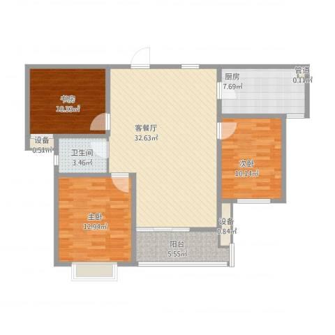 振华别墅3室2厅1卫1厨118.00㎡户型图