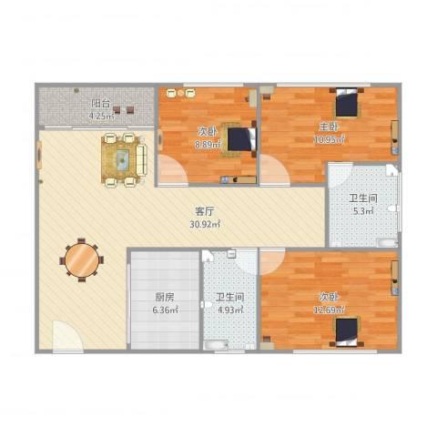 银汇华庭12座3室1厅2卫1厨114.00㎡户型图