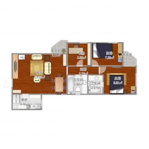 海怡花园3室1厅2卫1厨82.00㎡户型图