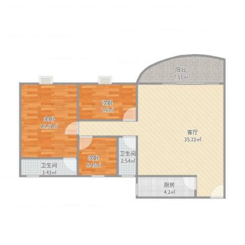 瑞丽花园悠然阁3室1厅2卫1厨109.00㎡户型图
