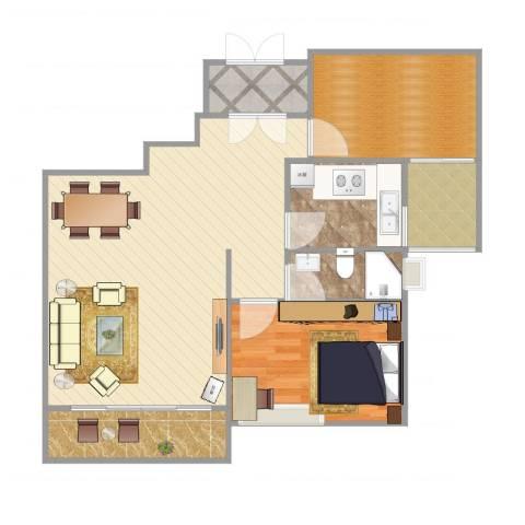 常青藤花园70幢8021室1厅1卫1厨93.00㎡户型图