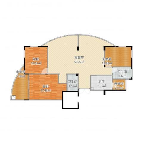 星星港湾春江苑2室2厅2卫1厨156.00㎡户型图