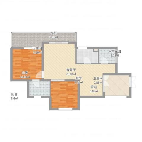 滨湖世纪城春融苑2室2厅2卫1厨101.00㎡户型图