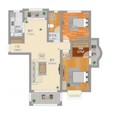 华府天地2室1厅3卫1厨122.00㎡户型图