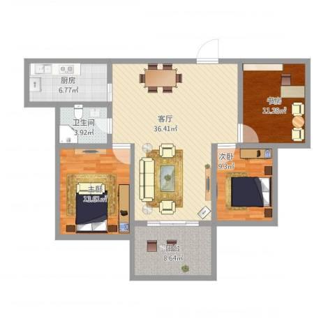 中央花城3室1厅1卫1厨128.00㎡户型图