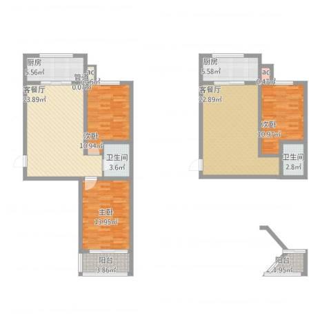 华锐塔湾欣城3室4厅2卫2厨156.00㎡户型图
