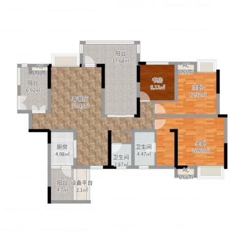 国电金海域3室2厅2卫1厨181.00㎡户型图