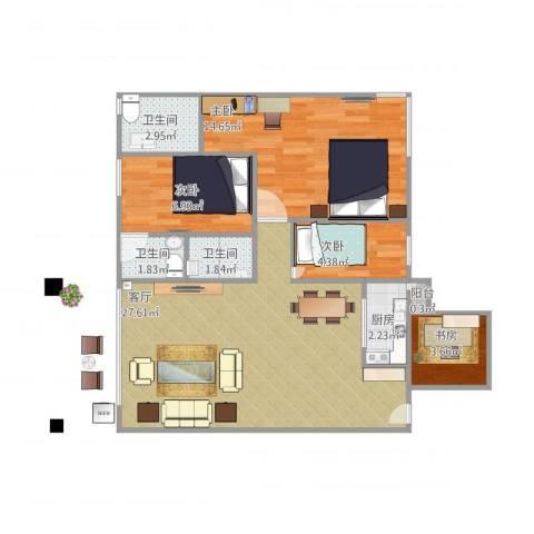 朗晴轩4室1厅3卫1厨90.00㎡户型图