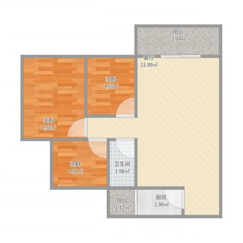 日高卡卡10043室1厅1卫1厨67.00㎡户型图