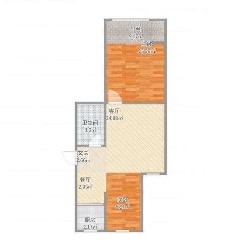 华夏山海城1室1厅1卫1厨62.00㎡户型图