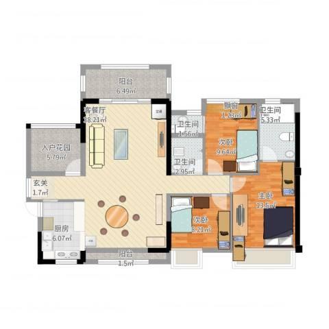 名德幸福里3室2厅3卫1厨142.00㎡户型图