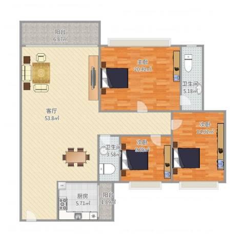 汇星豪庭3室1厅2卫1厨161.00㎡户型图