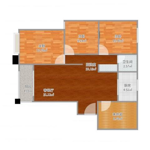 天鹅湾国际滨水社区4室2厅1卫1厨114.00㎡户型图