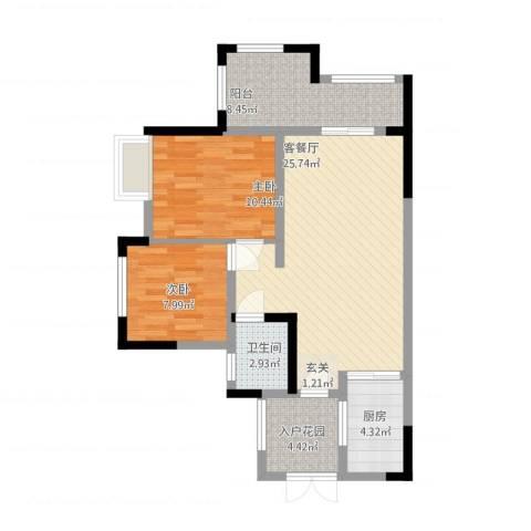 九鼎・御江山2室2厅1卫1厨94.00㎡户型图