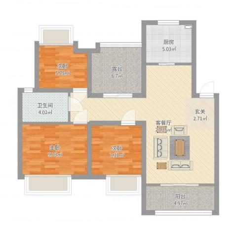 农房・名宿华府3室2厅1卫1厨102.00㎡户型图