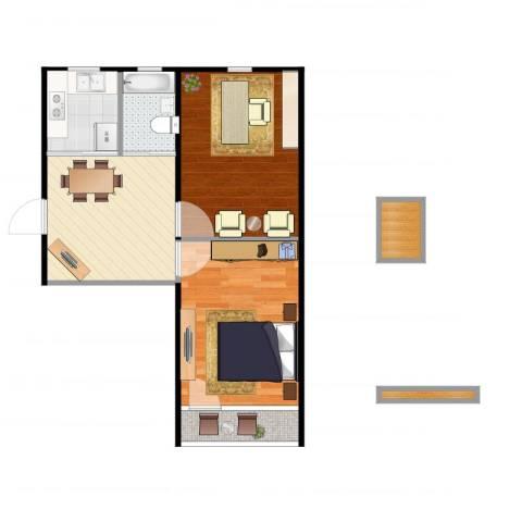 潼港六村2室1厅1卫1厨58.00㎡户型图