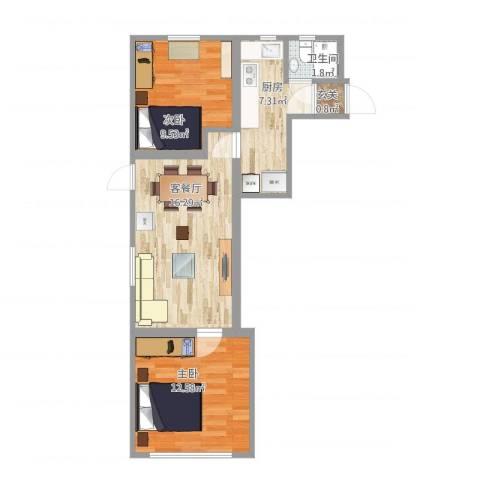 上钢5村2房实际尺寸2室2厅1卫1厨69.00㎡户型图