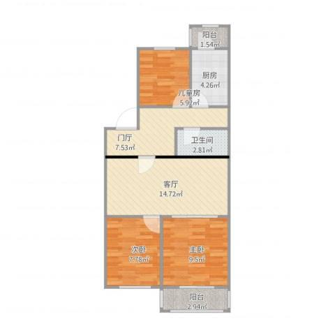 车站北里3室1厅1卫1厨78.00㎡户型图