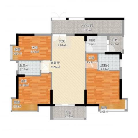 翠堤湾3室2厅2卫1厨125.00㎡户型图