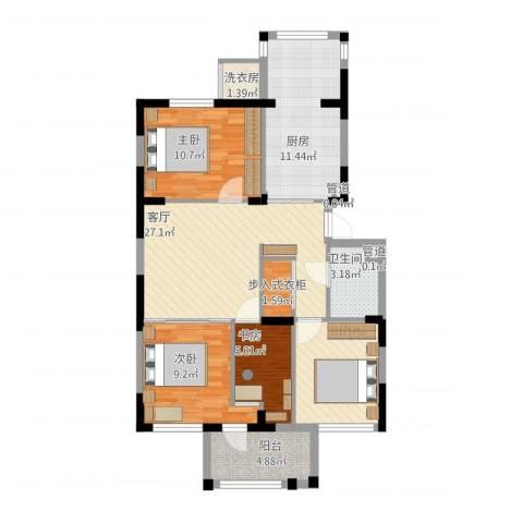 龙泽苑东区3室1厅1卫1厨107.00㎡户型图