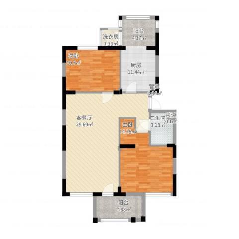 龙泽苑东区2室2厅1卫1厨107.00㎡户型图