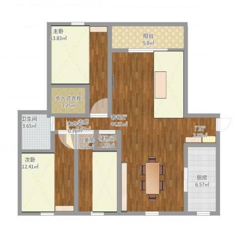 兴海苑3室2厅1卫1厨145.00㎡户型图