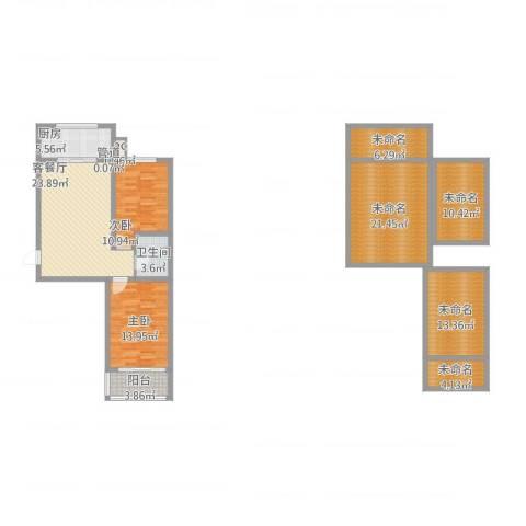 华锐塔湾欣城2室2厅1卫1厨170.00㎡户型图