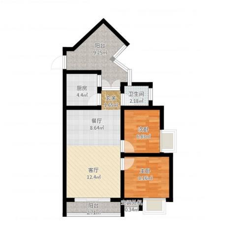 金成・源山2室2厅1卫1厨84.00㎡户型图
