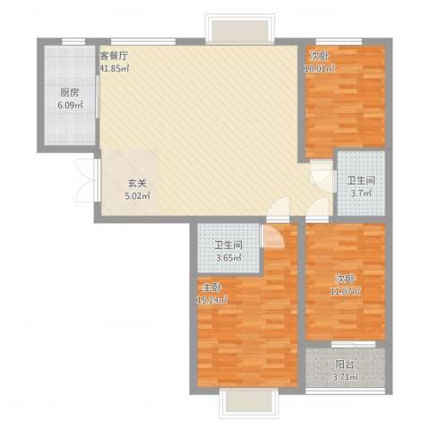 天阔逸城3室2厅2卫1厨134.00㎡户型图
