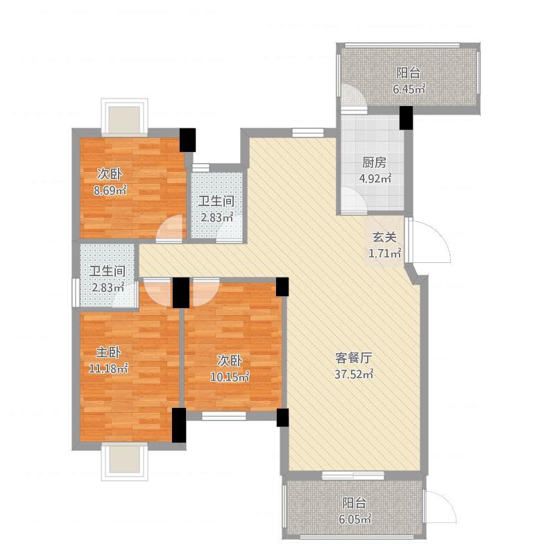永昌状元第1322113.75㎡1#户型3室2厅2卫1厨-副本
