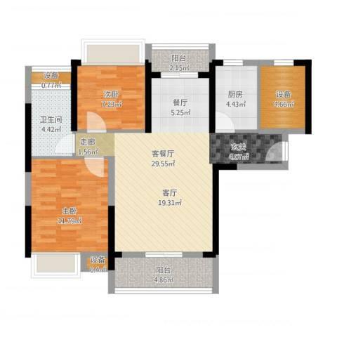 汉南天地2室2厅1卫1厨102.00㎡户型图