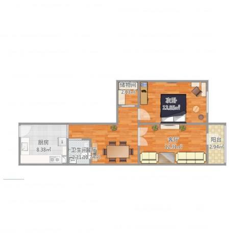 广南小区1室2厅1卫1厨72.00㎡户型图