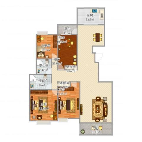 竹园阳光嘉苑4室1厅2卫1厨173.00㎡户型图