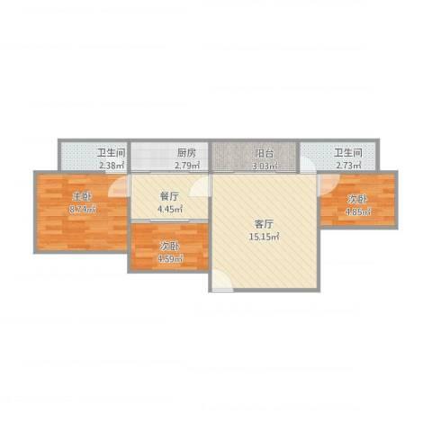 金桂花园3室2厅2卫1厨67.00㎡户型图