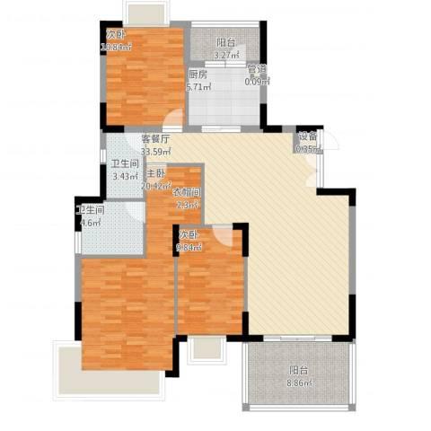 大信海岸家园3室2厅2卫1厨143.00㎡户型图