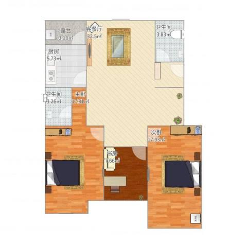 怡和四季园筑3室2厅2卫1厨116.00㎡户型图