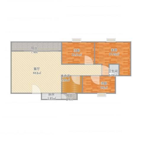 红棉雅苑18座3室1厅1卫1厨138.00㎡户型图