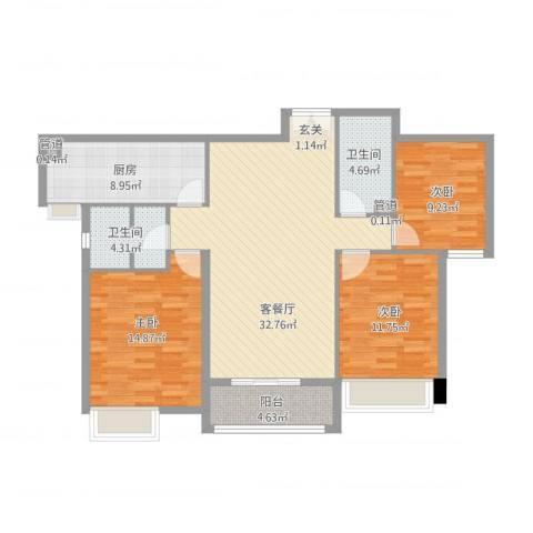 淮安万达广场3室2厅2卫1厨128.00㎡户型图
