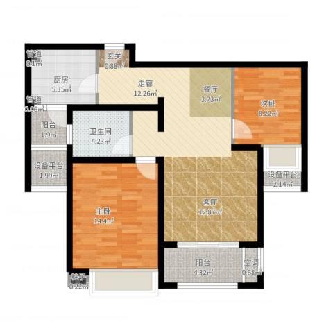 中星海上名豪苑四期御菁园2室2厅1卫1厨107.00㎡户型图