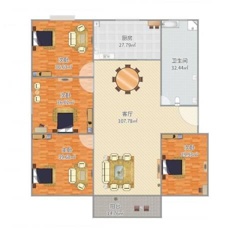公园生活家127平米4室1厅1卫1厨422.00㎡户型图
