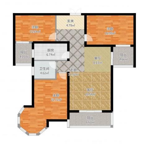 南阳桂花城御景3室2厅1卫1厨173.00㎡户型图